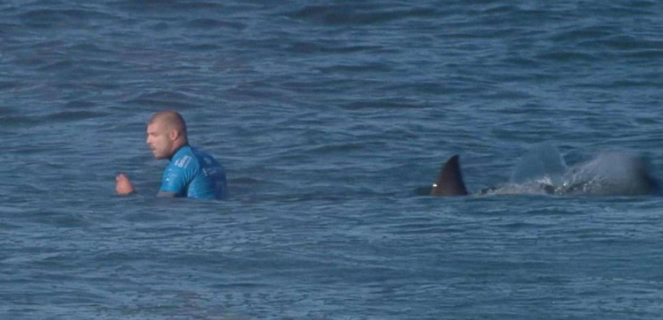 In this screen shot taken from video made available by the World Surf League, Australian surfer Mick Flanning is pursued by a shark, in Jeffrey's Bay, South Africa, Sunday, July 19, 2015. Knocked off his board by an attacking shark, a surfer punched the creature during the televised finals of a world surfing competition in South Africa before escaping. Fanning was attacked by a shark on Sunday during the JBay Open but escaped without injuries. (W orld Surf League via AP) MANDATORY CREDIT FOR ALL ONLINE USE PLEASE INCLUDE A LINK TO WORLDSURFLEAGUE.COM./LON804/984786440910/MANDATORY CREDIT WORLD SURF LEAGUE. FOR ALL ONLINE USE PLEASE INCLUDE A LINK TO WORLDSURFLEAGUE.COM. AP PROVIDES ACCESS TO THIS HANDOUT PHOTO TO BE USED SOLELY TO ILLUSTRATE NEWS REPORTING OR COMMENTARY ON THE FACTS OR EVENTS DEPICTED IN THIS IMAGE. THIS I/1507201040